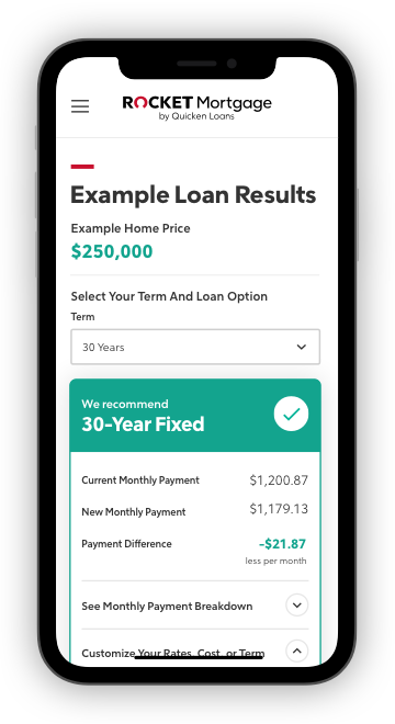 Rocket Mortgage Custom Options On Phone