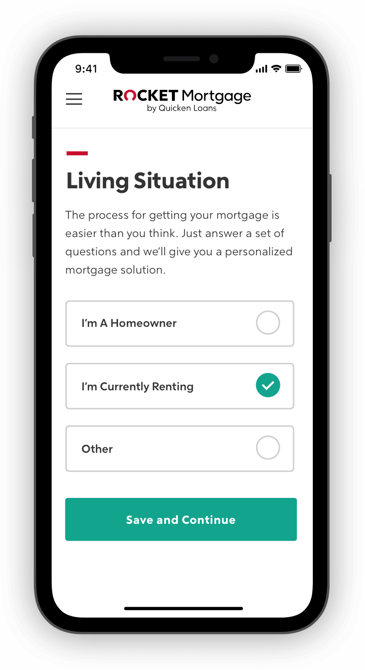 Rocket Mortgage application with living situation questions on phone screen.