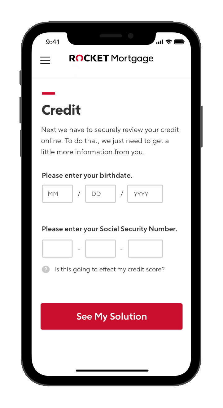 Rocket Mortgage application with credit question on phone screen.