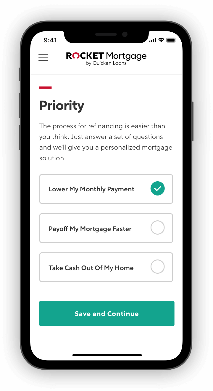 Rocket Mortgage application with questions about priority on phone screen.