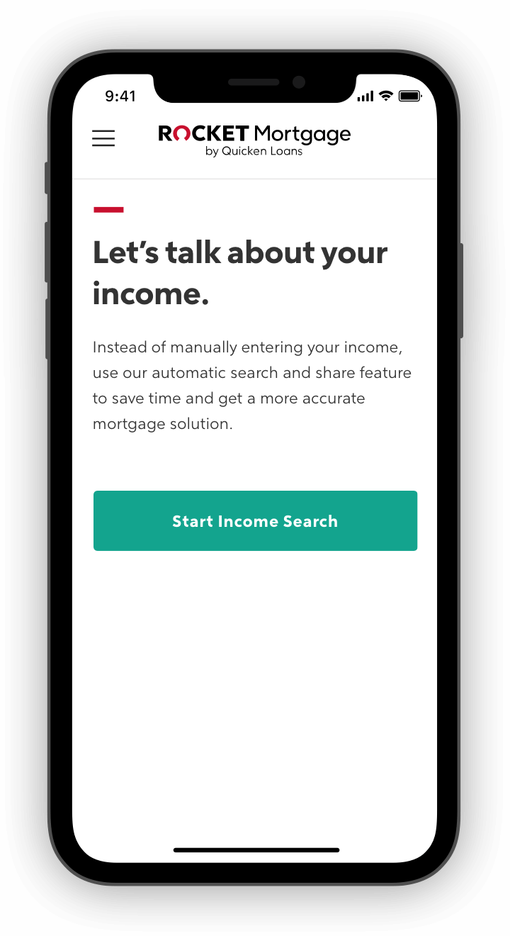 Rocket Mortgage application with income questions on phone screen.