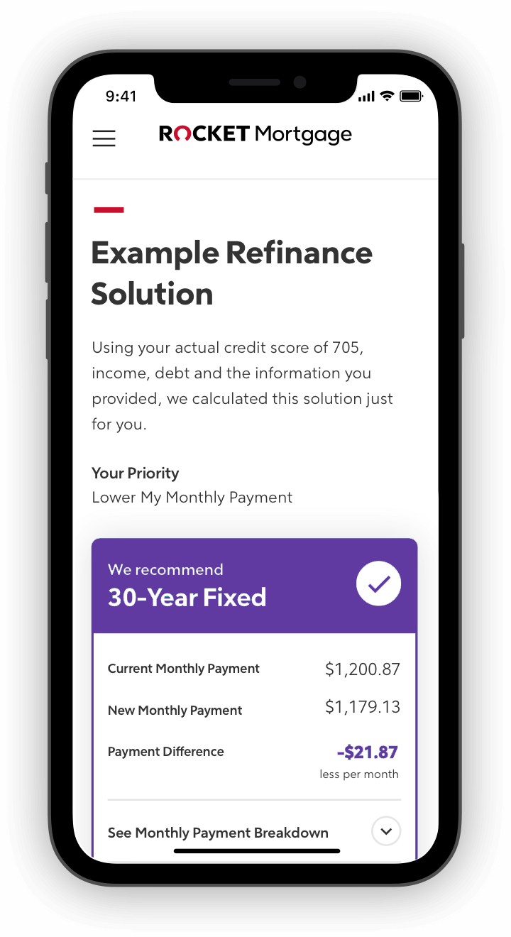 Rocket Mortgage application with example refinance solutions on phone screen.