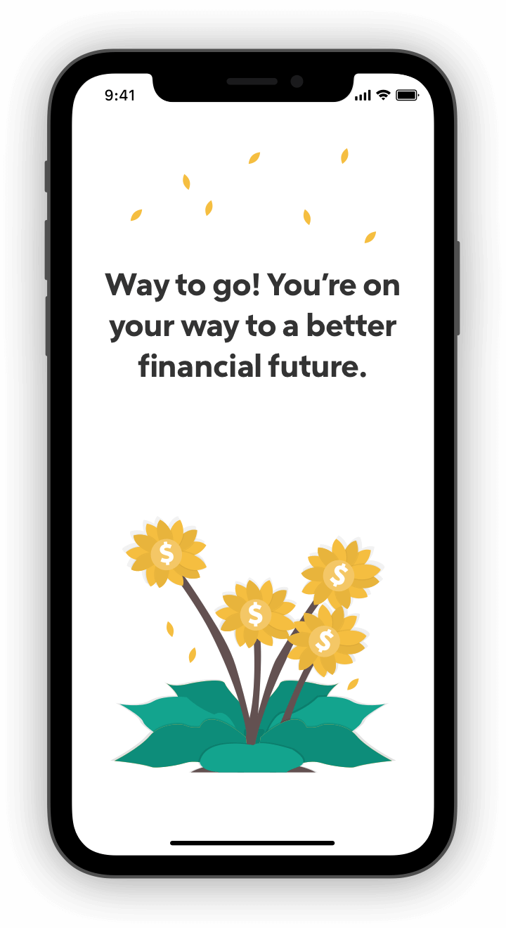 Flowers with money signs in celebration on phone screen.