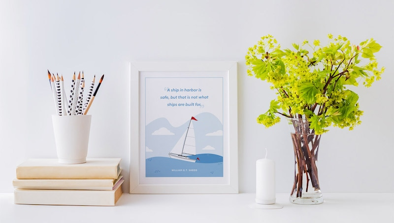 quote in frame on desk